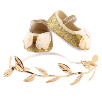 Newborn Baby Girls First Walker Shoes+Headband Set Gold