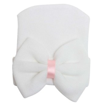 Newborn Baby Infant Girl Toddler Comfy Bowknot Hospital Cap BeanieHat White
