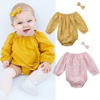 Newborn Infant Baby Girls Romper Bodysuit Jumpsuit Outfits 2pcsClothes Playsuit - intl