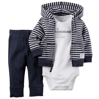 Newborn Infant Striped Baby Boy Cardigan Romper Pants 3pcs Sets - intl