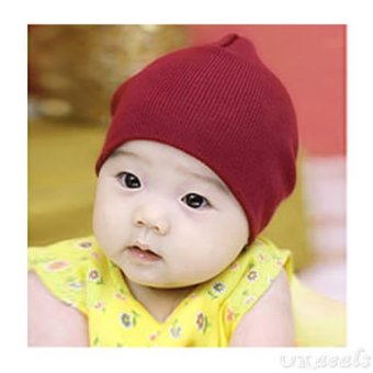 Okdeals Unisex Infant Baby Boy/Girl Soft Cotton Beanie Hat Knitted Kid Winter Warm Cap Wine Red - intl