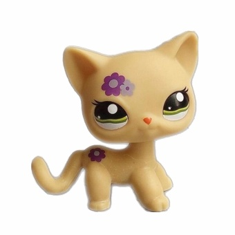 Original 1pc LPS quality cute toys Lovely Pet shop animal yellow cat with purple flowers action figure littlest doll toys - intl