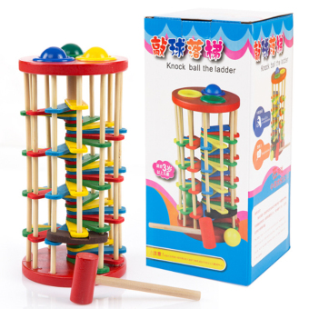 Original Wooden Multicolour Ball Ladder Toy Infant Toy ChildrenEducational Toys knock Wooden Toy for Kids Price Philippines