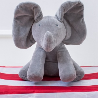 Peek A Boo Elephant Plush Toy Electronic Flappy Elephant Play Hide and Seek Baby Kids Soft Doll Birthday Gift for Children - intl Price Philippines