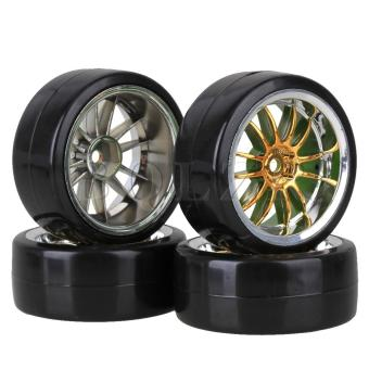RC1:10 Racing Car Rubber Slick Tires With 12-Spoke Wheel Rims Setof 4 (Black/Gold)