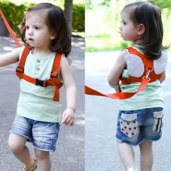 Safety Harness Leashes Strap Bag Anti-lost Angle Wings Keeper Toddler Walking Wings for Baby and Kids (Orange)