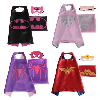 Set of 4 Superhero Dress Up Costumes Cape & Mask For 3-6 Year Kids Halloween Costumes Cloak - intl