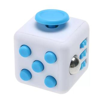 SHOP AND THRIFT 6-Sides Fidget Magic Cube for Relieve Stress andAnxiety Finding Peace Vinyl Desk Toy Gifts For Adults Kids (Whiteand Blue)