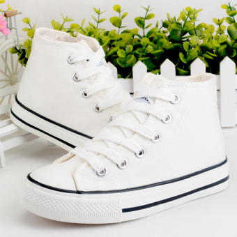 Solid white boy's girls students cloth shoes hight-top sail cloth shoes