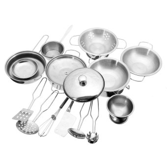 Stainless Steel Kitchen Cooking Utensils Pots Pans Food Gift Miniature Kitchen Cook Tools Simulation Play House Toys - intl