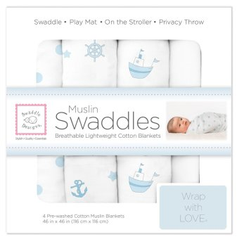 Swaddle Designs Muslin Swaddle Blankets (Set of 4) Little Ships
