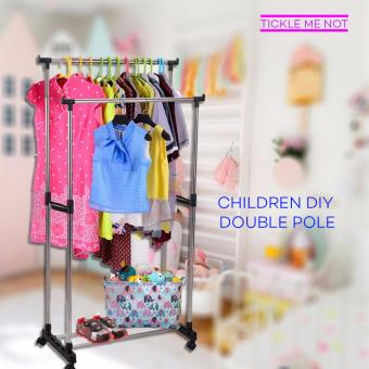 Tickle Children DIY Double Pole Stainless Steel Clothes Rack