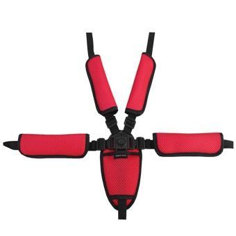 Universal Baby Kid 5 Point Safety Seat Harness Belt Strap forStroller High Chair Pram Buggy Kid Pushchair Red - intl