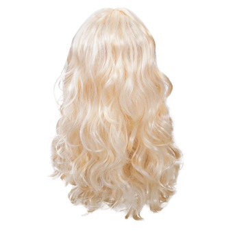 Women Long Big Wavy Wig Hair Cosplay Party Costume(Off-white)