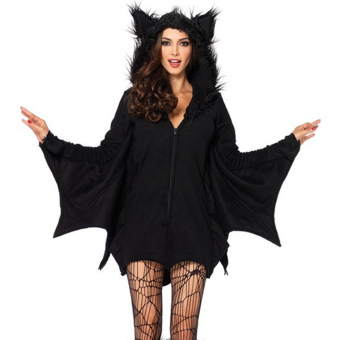 Women Sexy Bat Bat Girl Vampire Cosplay Costume Coat HalloweenOutfit Costume Black for B/C Cup