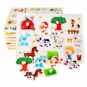 Wooden Inset Board Farm Animals Puzzle - Educational andTherapeutic Toy