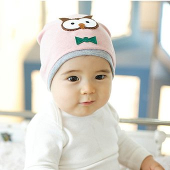 YBC Unisex Cotton Owl Beanie Hat New Born Baby Soft Cap Pink - intl