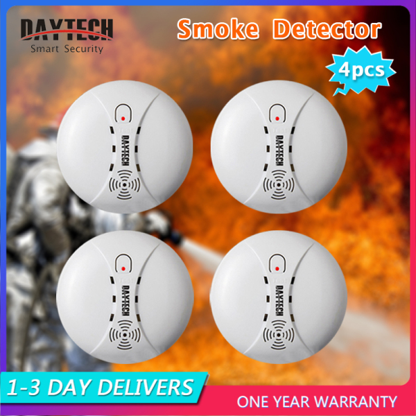 [Malaysia Ready Stock]Daytech Smoke Detector Fire Alarm Battery Powered Home Security 9V for Hotel/Restaurant/Home/School 4PCS SM02