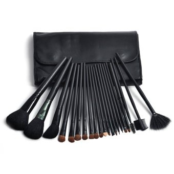 24pcs Professional Synthetic Hair Cosmetic Makeup Brush Set Kit Brushes Tools Make up with Case (Black)