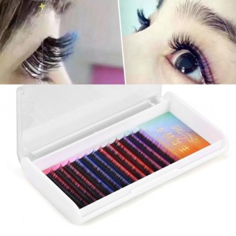 3 Types Colorful False Eyelash Extension Gradient Color Fake Eye Lashes Individual - intl
