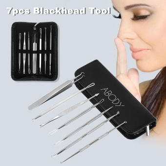 Abody 7pcs Blackhead Tool Acne Clip Facial Comedone Needle Set Facial Pimple Tweezer Stainless Steel Blemish Extractor - intl