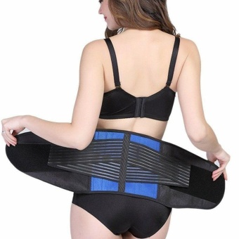Double Pull Lower Back Support Brace Lumbar Waist Support BeltBreathable Band - intl