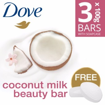 DOVE SOAP BAR COCONUT MILK 3X100G FREE SOAP CASE