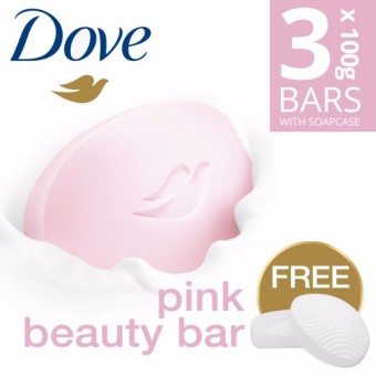 DOVE SOAP BAR PINK BEAUTY 3X100G FREE SOAP CASE