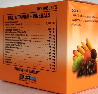 EURIVIT Multivitamins + Minerals Sugar Film Coated Box of 100s Price Philippines