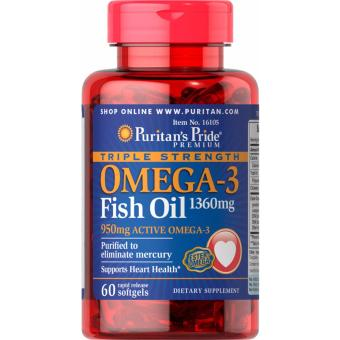 For Healthy Heart, Omega-3 Fish Oil 1360mg 60 softgels Triple Strength, Puritan's Pride Price Philippines