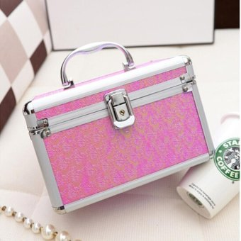 Handled Makeup Case Aluminum Alloy Cosmetic Box Organizer Container(Violet) - intl