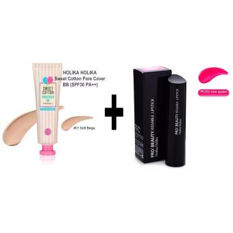 Holika Holika Sweet Cotton Pore Cover BB Cream No.01 30ml with Holika Holika Pro: Beauty Kissable Lipstick PK102 Korean Cosmetics