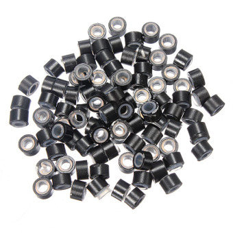 Hot 100pcs Silicone Micro Link Rings 5mm Beads Tubes Lined for Hair Extensions Black Price Philippines