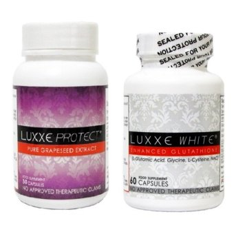 Harga Luxxe White Enhanced Glutathione Capsule Bottle of 60 with Luxxe Protect Grapeseed Extract Capsule Bottle of 30