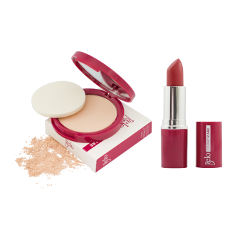 Harga Belo Cosmeticare Face Powder (Light) with Lipstick (Rose)