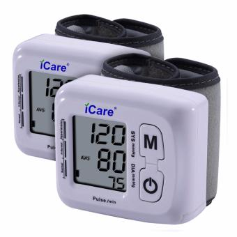 Harga iCare®CK-102S Blood Pressure Monitor Wrist Type Auto Heart Beat Rate Pulse Meter with Case Set of 2 (White)