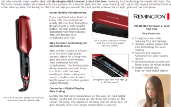 Harga Remington Silk Ceramic Pro Hair Straightener, Fast Heat, Floating Plate, - intl