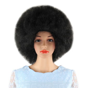 Harga Short Black Wigs Inflated Fluffy Afro Hair