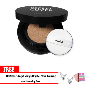 Harga Inga Secret Cover Cushion (SPF50+/PA+++) Nude with Free 925 Silver Angel Wings Crystal Stud Earring and Jewelry Box