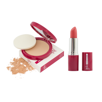 Harga Belo Cosmeticare Face Powder (Natural) with Lipstick (Coral)