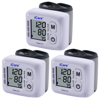 Harga iCare®CK-102S Blood Pressure Monitor Wrist Type Auto Heart Beat Rate Pulse Meter with Case Set of 3 (White)