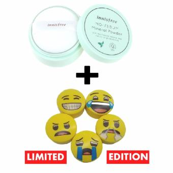 Harga Korean Cosmetics Innisfree No Sebum Mineral Powder with Innisfree No Sebum Mineral Powder Emoji (Random)