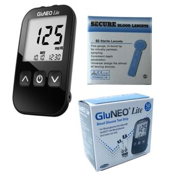 Harga GluNeo Lite Glucose Meter Kit with 50 Test Strips and 50 Secure Blood Lancets