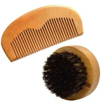 2Pcs Beard Brush Comb Set Men Soft Boar Bristle Round Wooden Short Handle Facial Mustache Beard Brush Pocket Mustache Hair Beard Comb - intl Price Philippines