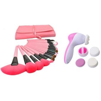Make-Up For You 24pcs Brush (Pink) with 5 IN 1 Beauty Face Care Massager Price Philippines