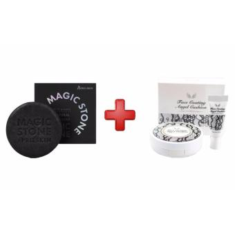 Harga Korean Cosmetics April Skin Magic Stone (Black) with Secret Kiss Face Coating Angel Cushion with Refill