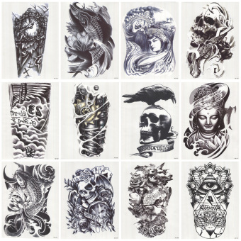 Harga 12 Pieces Waterproof Arm Temporary Tattoos Stickers Cool Design (Black)