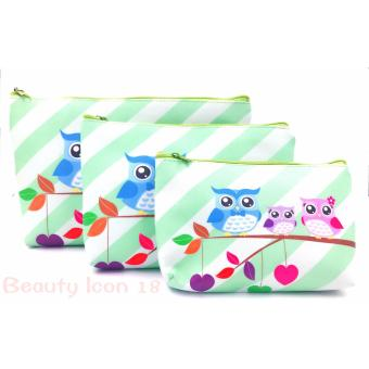 Harga Owl Cosmetic Travel Make Up  Pouch Light Set Of 3 (Light Green)