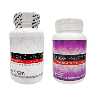 Harga Luxxe White Enhanced Glutathione Capsules 775mg bottle of 60 with Luxxe Protect Pure Grapeseed Extract Capsules 500mg bottle of 30