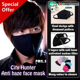 Harga Cool Cool Anti Haze Dust 3 layers PM2.5 Carbon Filter Mouth Face Mask(Black) - intl